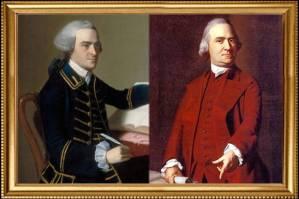 John Hancock (left) and Samuel Adams (right)
